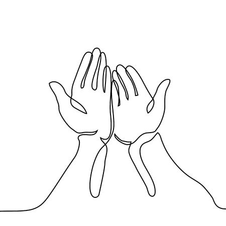 Hands palms together. Continuous line drawing. Vector illustration