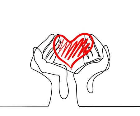 手の心を持ってします。連続線の描画。ベクトル図