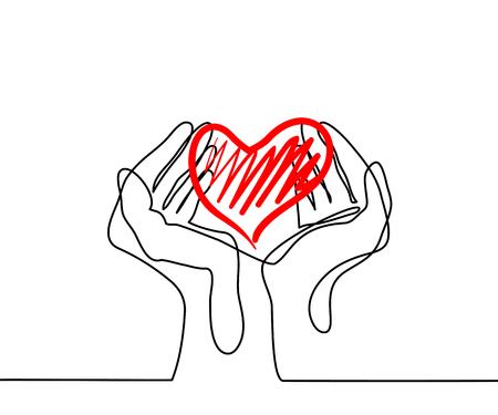 Hands holding a heart. Continuous line drawing. Vector illustration Çizim
