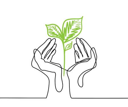 Ręce trzyma żywą zieloną sadzonkę roślin. Ciągłe rysowanie linii. Ilustracja wektorowa