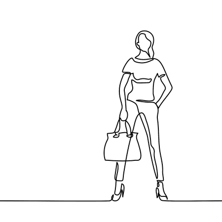 Fashion standing woman with bag. Continuous line drawing. Vector illustration Stock Illustratie