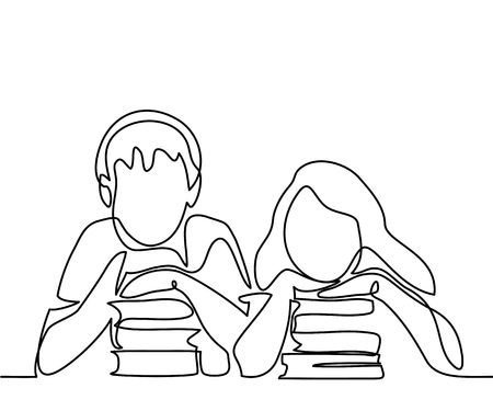 Kids with books. Back to school concept. Continuous line drawing. Vector illustration on white background Çizim