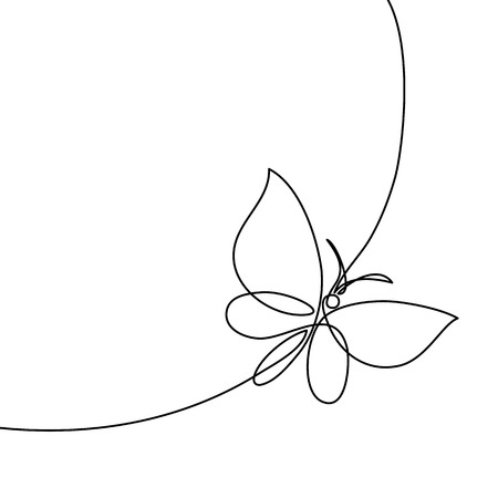 Continuous one line drawing. Flying butterfly . Black and white vector illustration. Concept for card, banner, poster, flyer