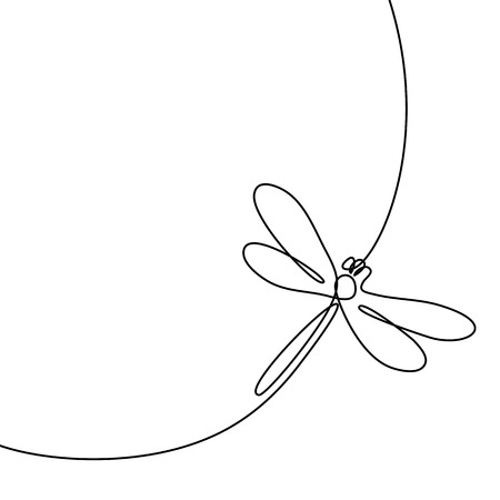 Continuous one line drawing. Flying dragonfly  . Black and white vector illustration. Concept for   card, banner, poster, flyer