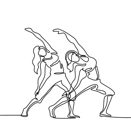 Continuous line drawing. Two women doing exercise in yoga pose. Vector Illustration