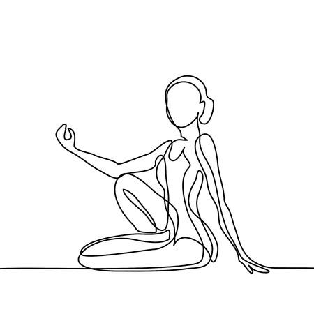 Kontinuierliche Linienzeichnung. Frau macht Übung in Yoga-Pose. Vektor-Illustration