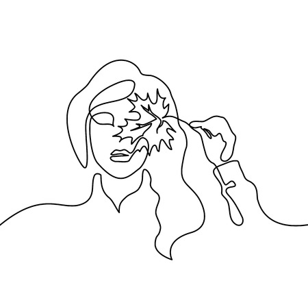Vector continuous line. Portrait of woman with autumn leaf. Vector illustration