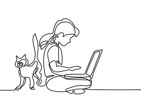 Girl studing with notebookand cat walking near. Back to school concept. Continuous line drawing. Vector illustration on white background