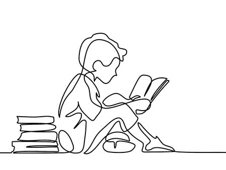 Chico estudiando con libro de lectura. Volver al concepto de escuela. Dibujo de línea continua. Ilustración vectorial sobre fondo blanco