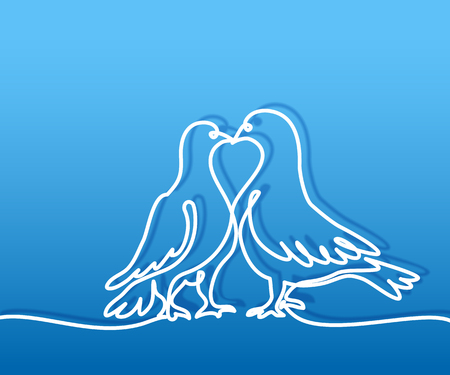 Continuous one line drawing. Two doves kissing logo. White on blue gradient background vector illustration. Concept for logo, card, banner, poster, flyer