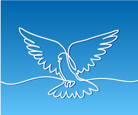 Continuous one line drawing. Flying pigeon logo. White on blue gradient background. Concept for logo, card, banner, poster, flyer