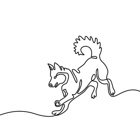 Continuous line drawing. Dog jumping and playing. Vector illustration