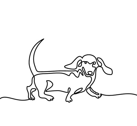 Continuous line drawing. Dog dachshund running. Vector illustration Illustration