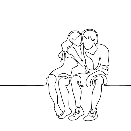 Young couple in love sitting. Continuous line drawing. Vector illustration.