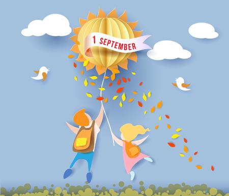 Ritorno a scuola 1 settembre carta con bambini, foglie e sole su sfondo blu cielo. Illustrazione vettoriale Carta tagliata e stile artigianale. Archivio Fotografico - 83476636