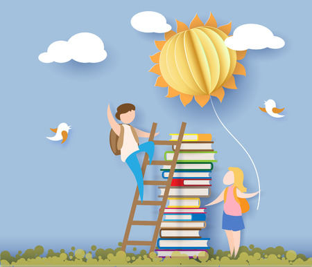 Back to school 1 september card with kids, books and sun on blue sky background. Vector illustration. Paper cut and craft style. Stock Illustratie