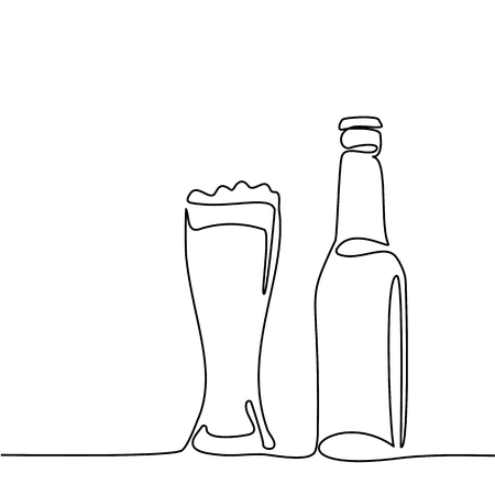Beer bottle and glass with beer isolated on white background. Continuous line drawing. Vector illustration