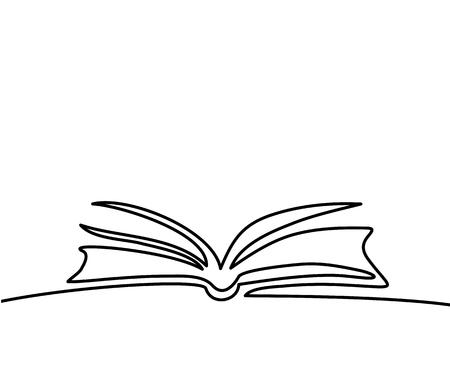 Libro Abierto Con Páginas Aisladas En Blanco. Dibujo Lineal Continuo ...