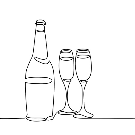 Champagne bottle and two glasses isolated on white background. Continuous line drawing. Vector illustration