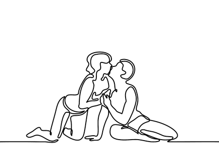 innamorati che si baciano: Giovane coppia in amore baciare sulla spiaggia. Disegno lineare continuo. Illustrazione vettoriale.