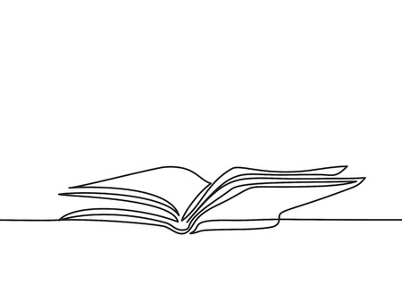 Opened book with pages isolated on white. Continuous line drawing. Vector illustration