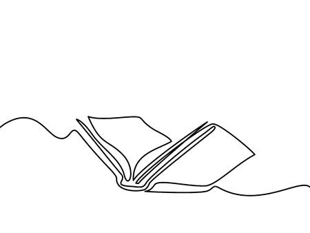 Libro abierto con páginas aisladas en blanco. Dibujo lineal continuo. Ilustración del vector Foto de archivo - 83810496