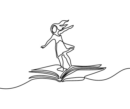 Little girl flying on book in the sky. Vector illustration. Continuous line drawing