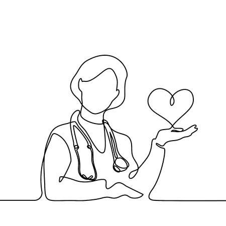 Doctor with stethoscope keep heart. Continuous line drawing. Vector illustration on white background