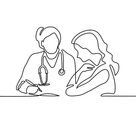 Doctor with stethoscope treat patient woman. Continuous line drawing. Vector illustration on white background 版權商用圖片 - 83810497