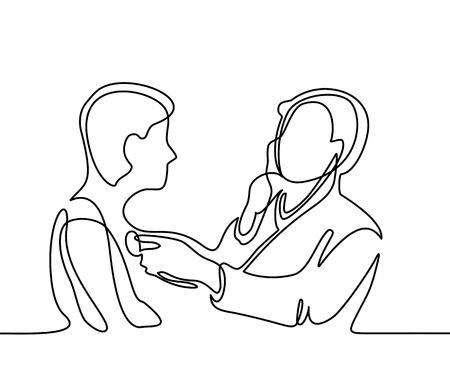 Arts met stethoscoop behandelen patiënt man. Continu lijn tekening. Vector illustratie op een witte achtergrond