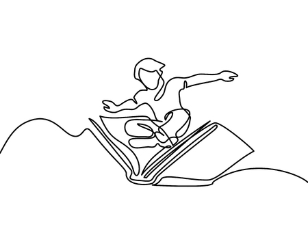 Small boy flying with book in the sky. Vector illustration. Continuous line drawing
