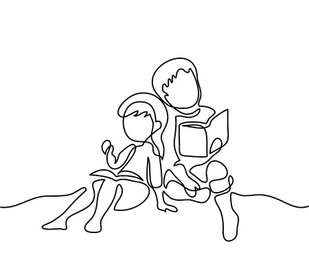 school class: Kids reading books. Back to school concept. Continuous line drawing. Vector illustration on white background Illustration