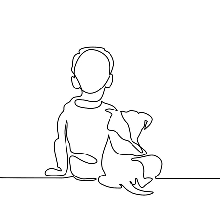 Boy hug dog. Continuous line drawing. Vector illustration Vectores