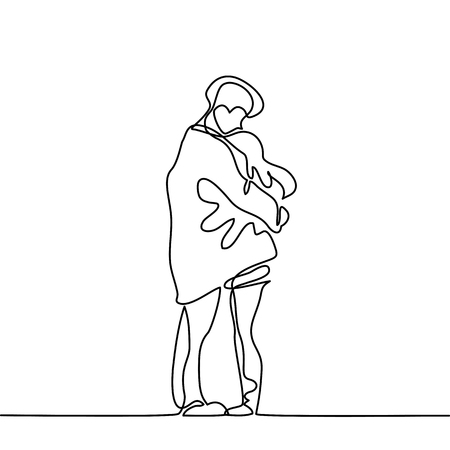 Happy couple warms in their arms under boys coat. Continuous line drawing. Vector illustration Vettoriali