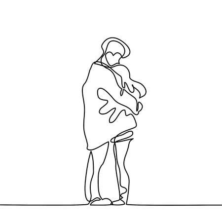 Pareja feliz se calienta en sus brazos bajo el abrigo de los muchachos. Dibujo lineal continuo. Ilustración del vector Foto de archivo - 83990734