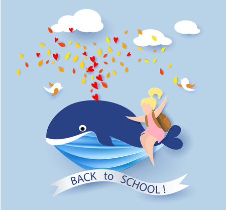 cachalot: Back to school 1 September card with girl sitting on whale flying on blue sky.