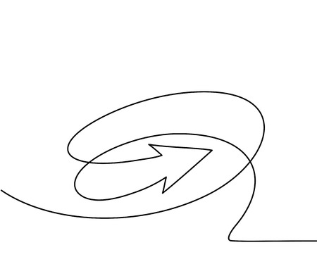 Abstract arrows sign. Continuous line drawing icon. Vector illustration Çizim