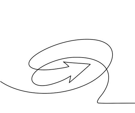 Abstracte pijlen ondertekenen. Continu lijntekening pictogram. Vector illustratie