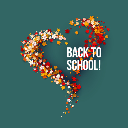 Back to School title texts poster design with frame flowers heart shaped. Education background. Back to school vector illustration