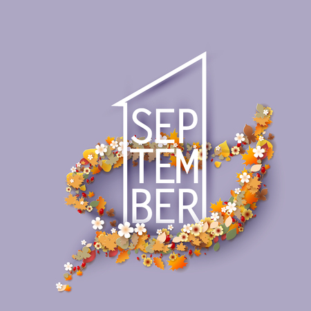 First september title texts poster design with frame flowers leaf shaped. Education background. Back to school vector illustration