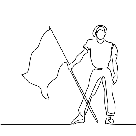 Man holding flag. Continuous line drawing. Vector illustration