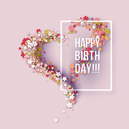 Colorful Paper cut Floral Greeting card. Happy birthday title texts poster design. Frame flowers heart shaped. Trendy Design Template. Vector illustration 版權商用圖片 - 84446126