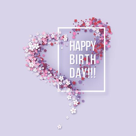 Papel colorido cartão floral colorido. Projeto de cartaz de textos de título de feliz aniversario. Moldura flores em forma de coração. Modelo de design moderno. Ilustração do vetor
