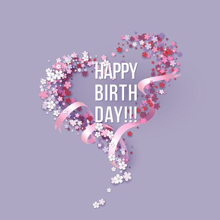 Colorful Paper cut Floral Greeting card. Happy birthday title texts poster design. Frame flowers heart shaped. Trendy Design Template. Vector illustration Stock Illustratie