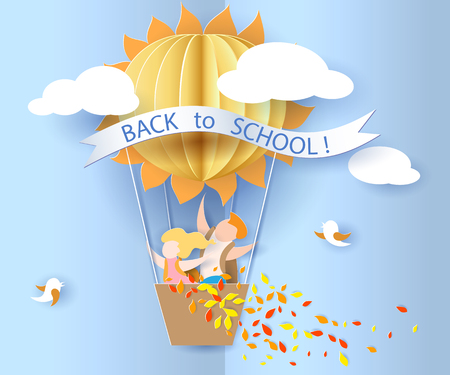 Back to school 1 september card with kids, leaves and sun shaped air balloon on blue sky background. Vector illustration. Paper cut and craft style. Illustration