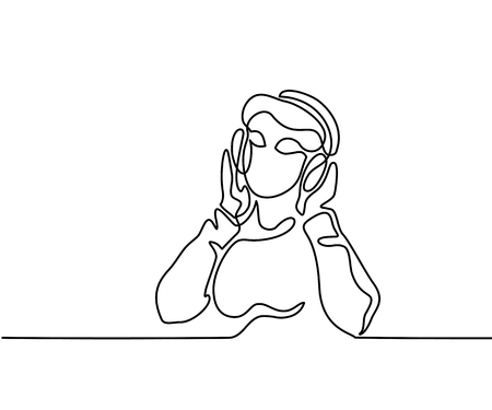 Woman listening to music on headphones. Illustration