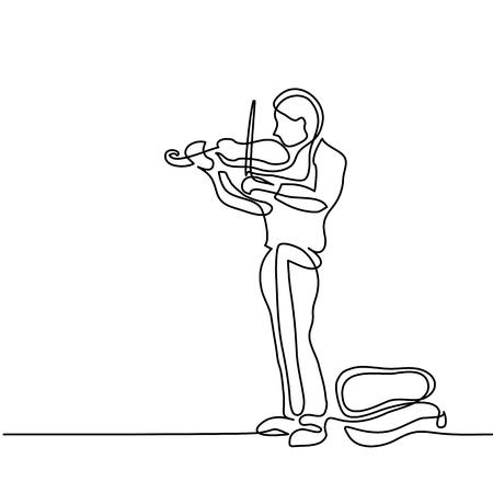 ストリートミュージ シャンの男がバイオリンを弾きます。連続ライン黒と白の図面。ラインアートのベクトル図  イラスト・ベクター素材