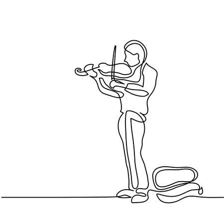 Street musician man playing the violin. Continuous line black and white drawing. Lineart vector illustration