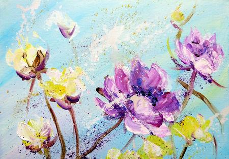 Handgemalte moderne Art Lila und gelbe Blumen. Frühlingsblumensaison-Naturhintergrund. Ölgemälde floral Textur Standard-Bild - 84679182
