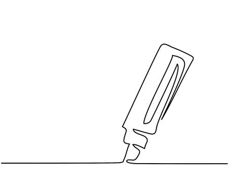 Marker business icon. Continuous thin line drawing. illustration